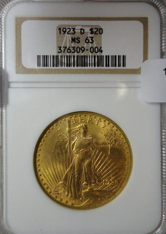 23: 1923D $20 GOLD  NGC63
