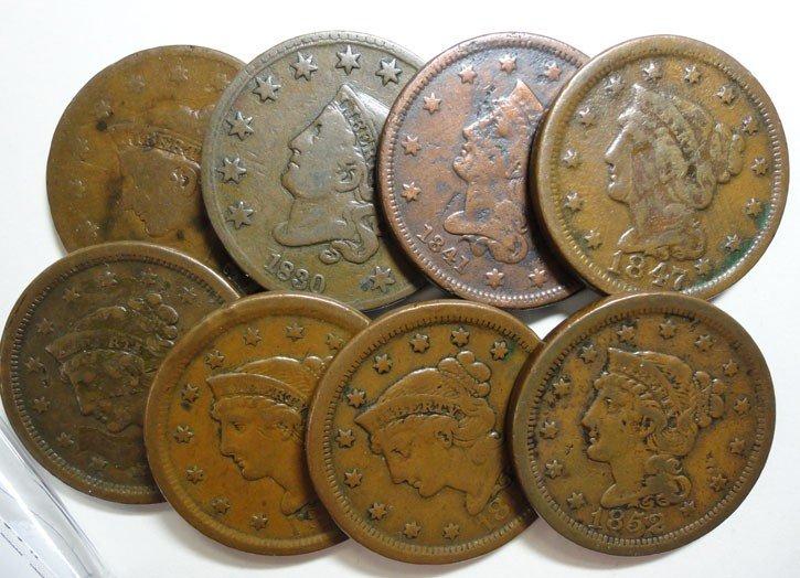 24: 1830-37-41-47-50-51-52-54 large pennys avg VG/F