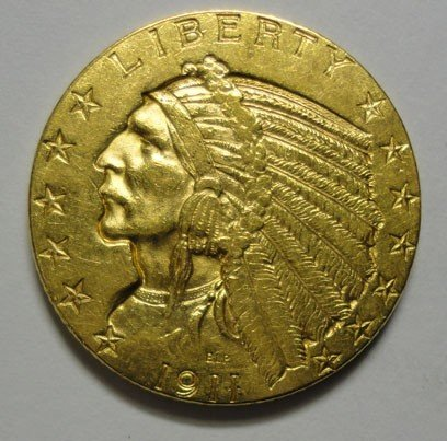 116: 1911 $5 GOLD  AU