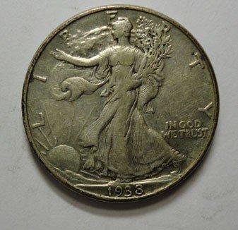 1: 1938D Walker half $  NICE XF UNDIPPED