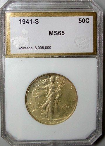 2: 1941S  Walker half $  PCI65 lite golden tone