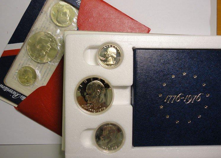 9: (1 ) Each 1976 3 pcs Proof & Mint set, 40% silver