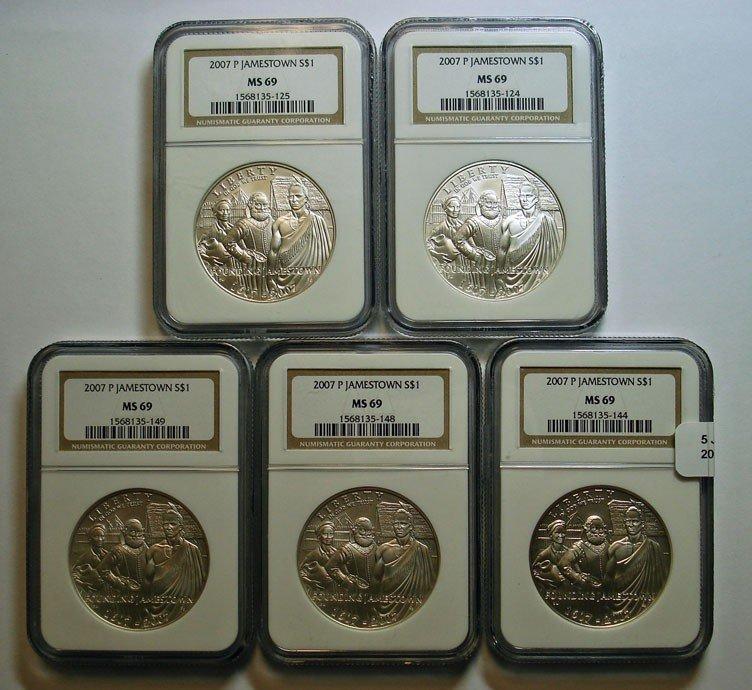 10: 5 Jamestown silver $  NGC69