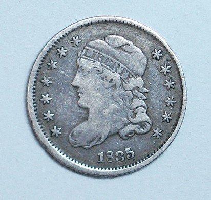 18: 1835  half dime  borderline XF all original PQ coin