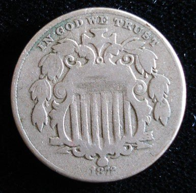 19: 1872 Shield nickel  SCARCE DATE  Fine