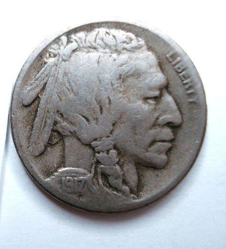 20: 1917S Buffalo nickel  SOLID 3/4 horn F/VF