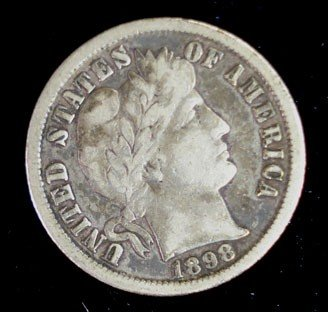 21: 1898O Barber dime  solid VF  VF GS bid = $120