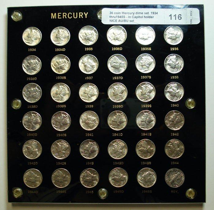 116: 36 coin Mercury dime set  1934 thru1945S