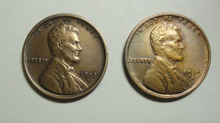 3: 1917D and1919D Lincoln penny   AU