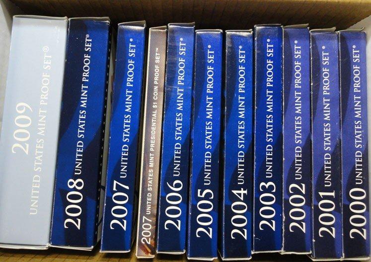 9: u.s. proof sets of 2000's all originals
