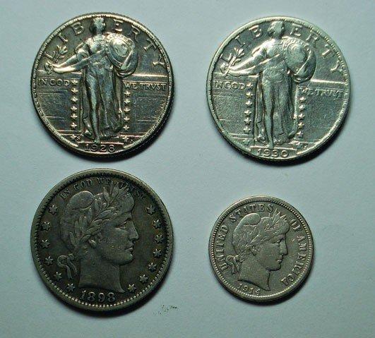 11: Collector lot 1914D dime VF 1898 quarter VF