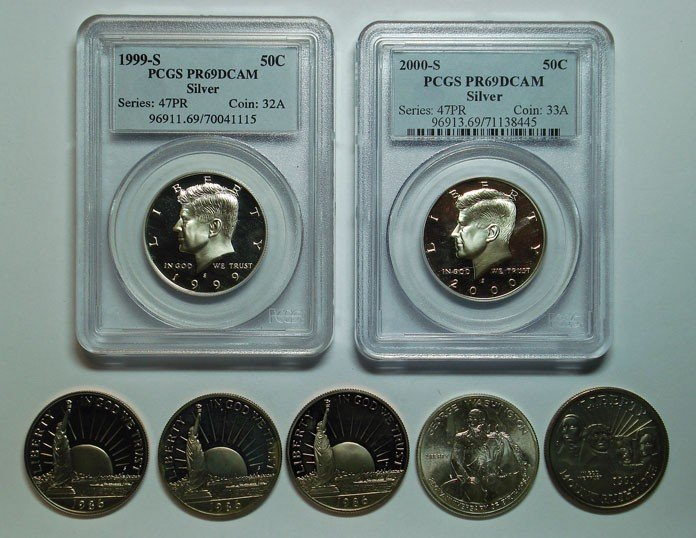12: 2 silver Kennedy proof PCGS69DCAM:1999S and 2000S