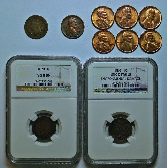 13: Collector lot pennys:Indians  1863 NGC UNC envoiron