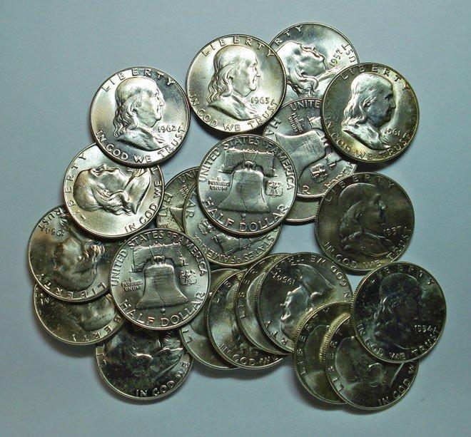 18: 23  nice BU(avg 63) Franklin half $;2 1954-11 54D-5