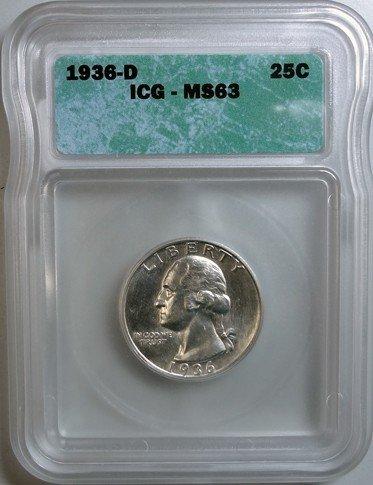 20: 1936D Washington quarter ICG63 looks like a small d