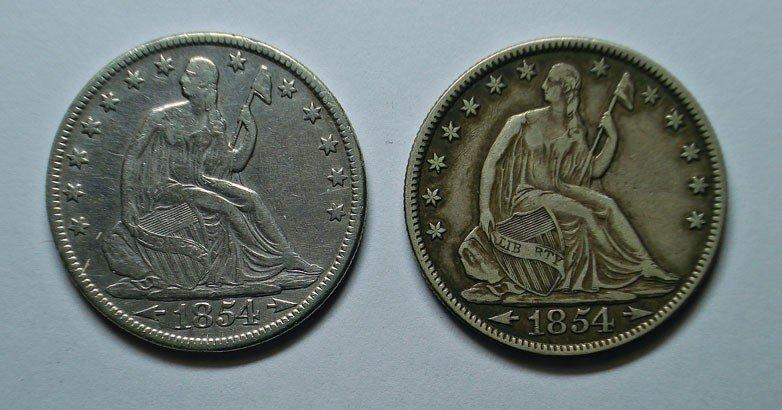21: 1854PO w /arrows Seated Liberty half $