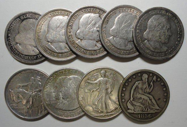 22: Half $ lot  5 circ Columbians-1923S XF/AU Monroe-XF