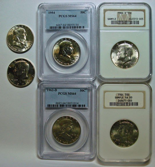 23: Franklins 1954 and 1962D PCGS64:54S MS63