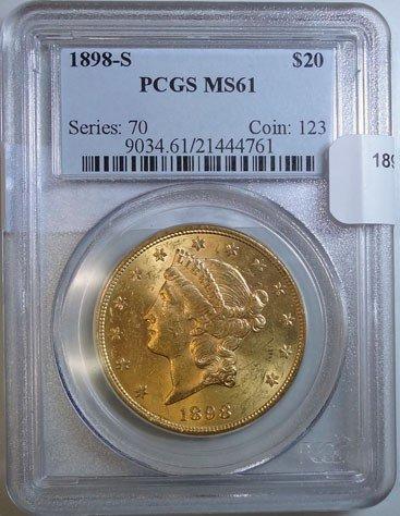 229: 1898S $20  GOLD   PCGS61