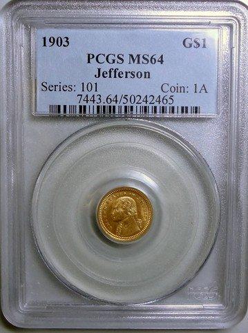 1: 1903 Jefferson Gold Dollar PCGS MS-64