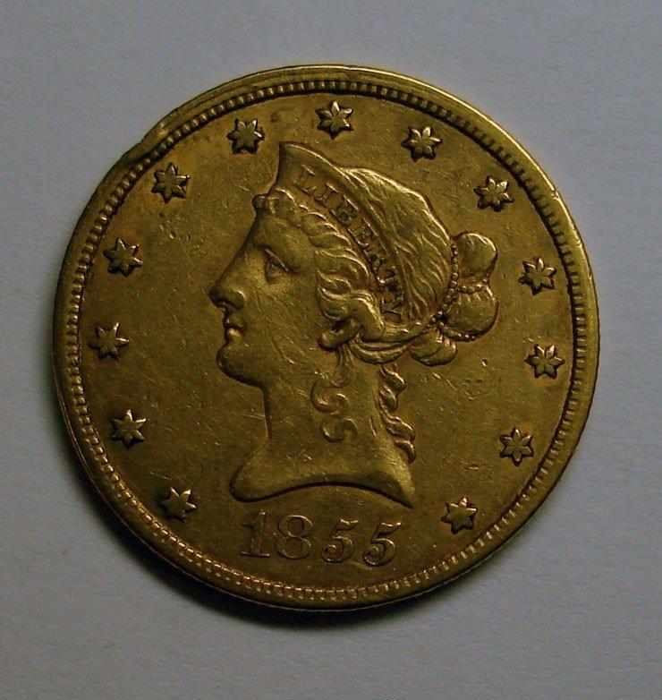 3: 1855 no motto $10 GOLD XF