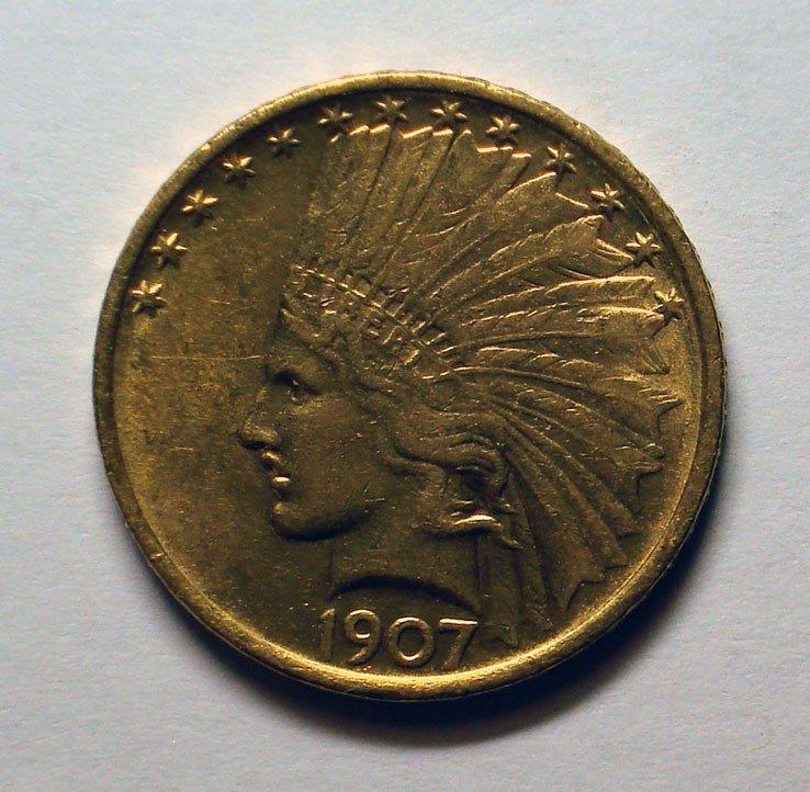 4: 1907 $10 GOLD  AU/BU