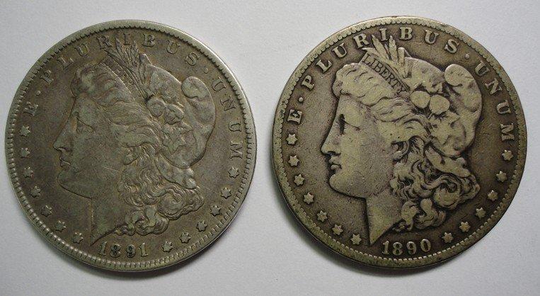 17: 1890CC  Fine and 91CC  VF Morgan $