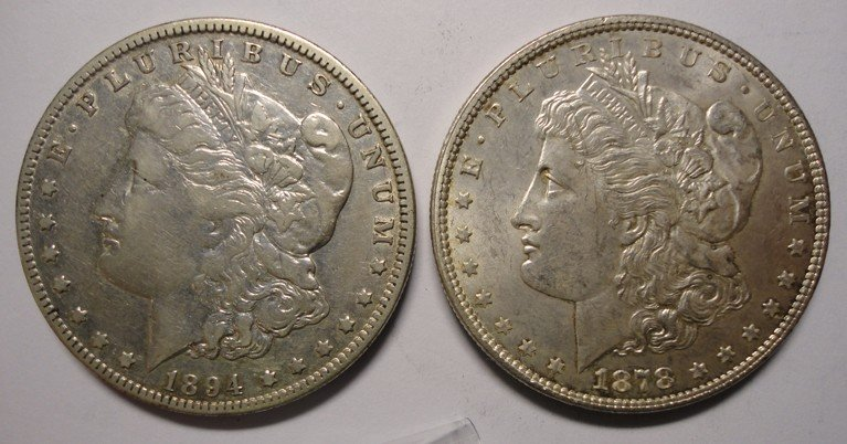 19: 1878S  Morgan  $ MS61 and an 1894O XF