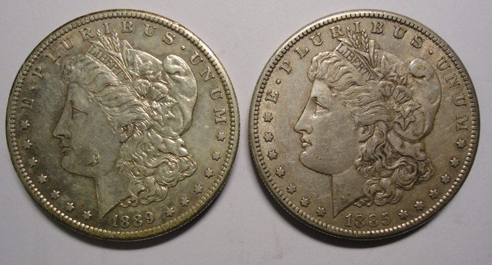 20: 1889S and 1885S Morgan$  XF/AU undipped original su