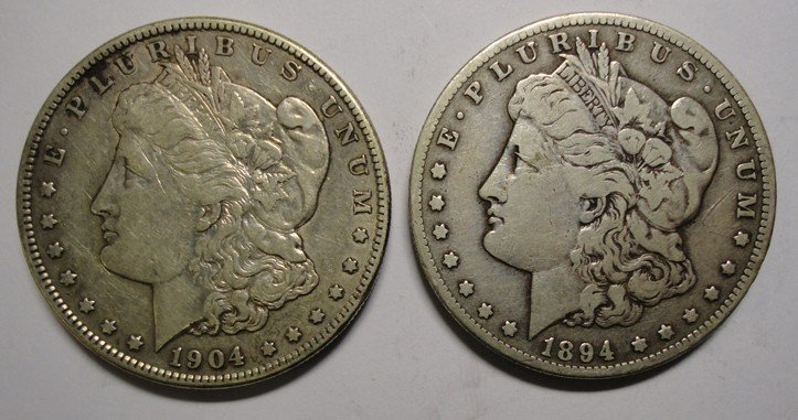 23: 1894S  F/VF Morgan  $ and a 1904S XF