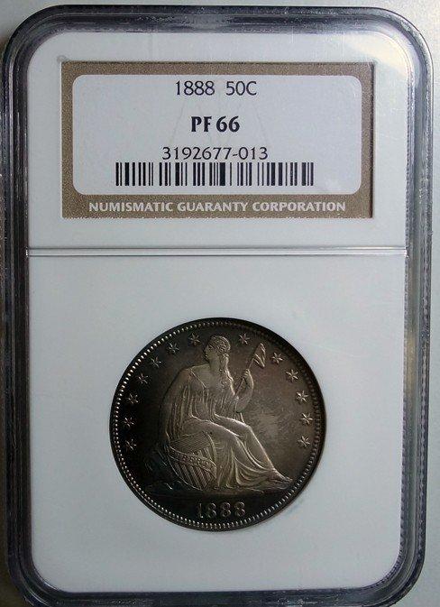 153: 1888 proof Seated half $  NGC PF66