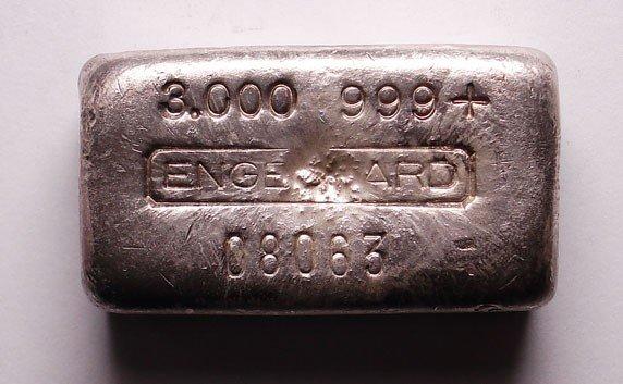 186: 3 oz. Engelhard silver bar