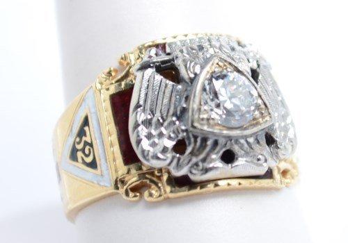 14 kt Masonic Ring. Size 9.5