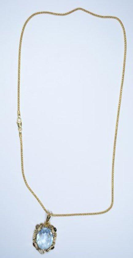 "14kt 18"" Popcorn chain necklace with 14kt Aquamarine"