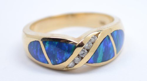 GORGEOUS CREATED OPAL RING WITH DIAMOND ACCENTS 14K