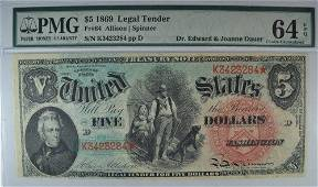 1869 $5 US NOTE PMG 64 EPQ