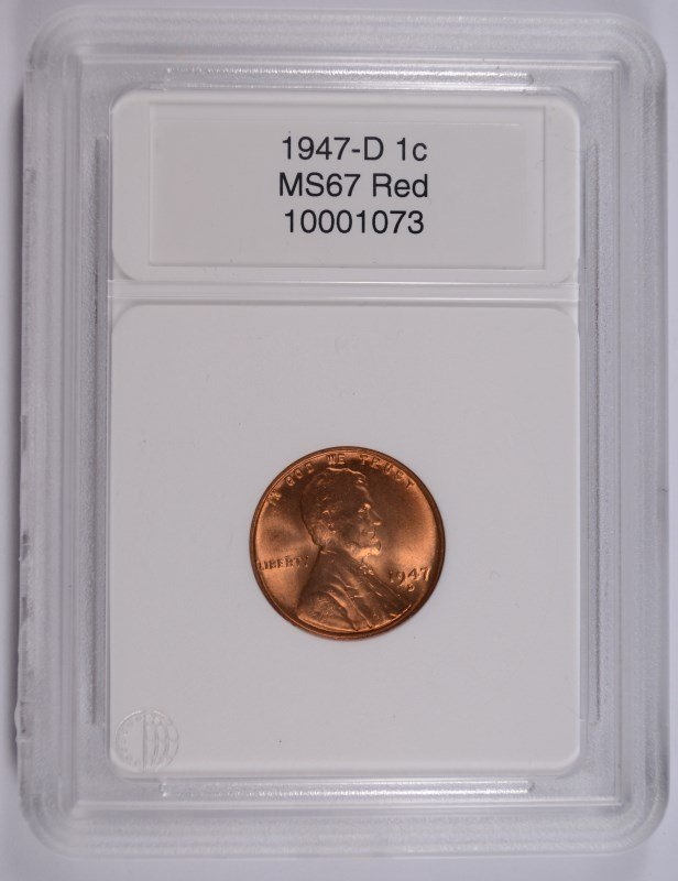 1947-D LINCOLN CENT, CCGS MS-67 RED