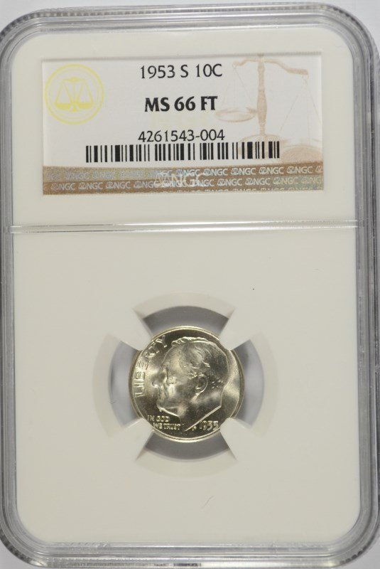 1953-S ROOSEVELT DIME, NGC MS-66 FULL TORCH