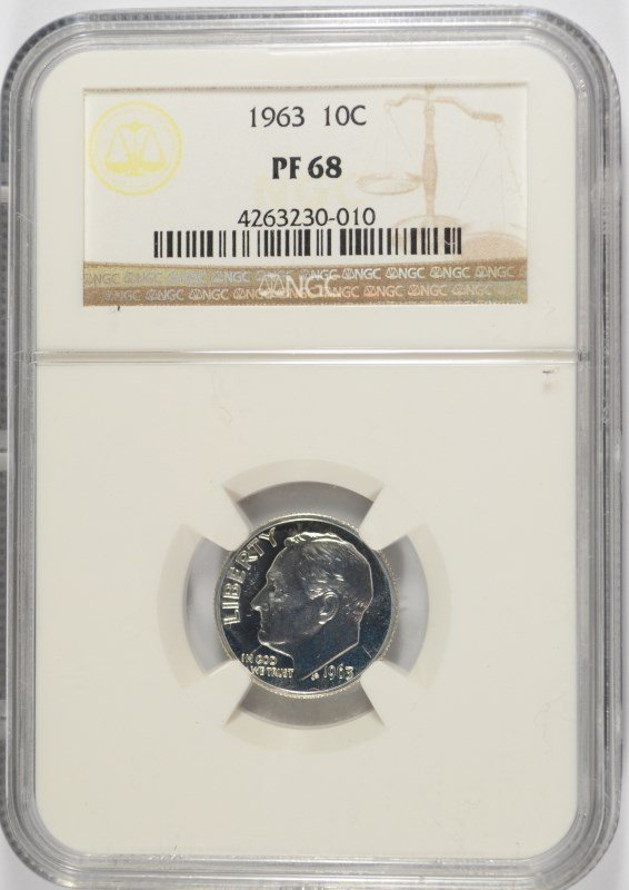 1963 ROOSEVELT DIME, NGC PROOF-68