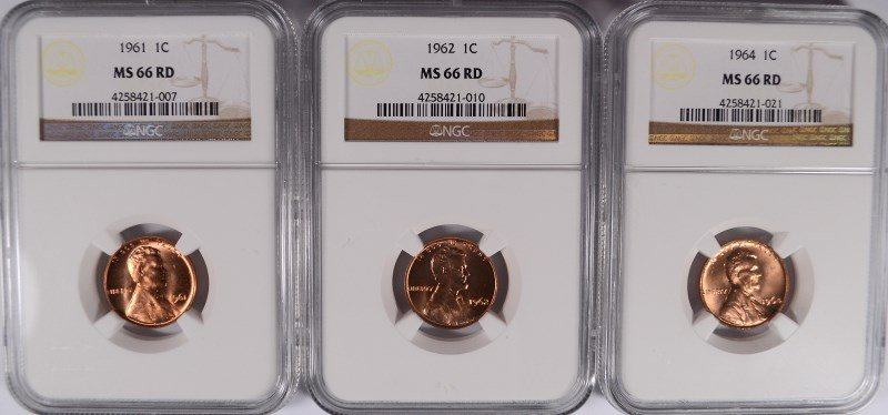 1961, 62, & 64 LINCOLN CENTS NGC MS-66 RD