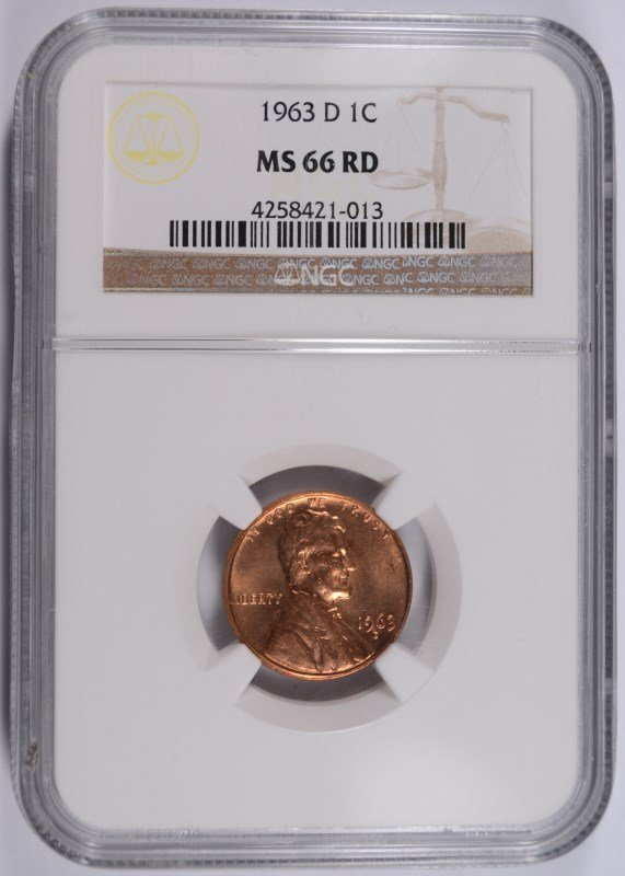 1963-D LINCOLN CENT, NGC MS-66 RED! RARE!! MS-67 RED GO