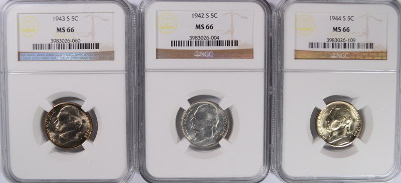 1942-S, 1943-S, 1944-S SILVER JEFFERSON NICKELS NGC MS