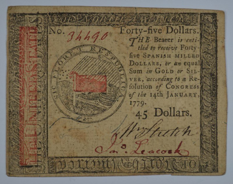 1779 FORTY FIVE DOLLARS CONTINENTAL CURRENCY XF/AU
