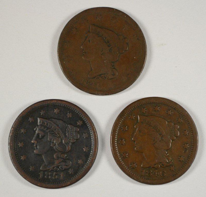 3 LARGE CENTS 1841, 46, 51
