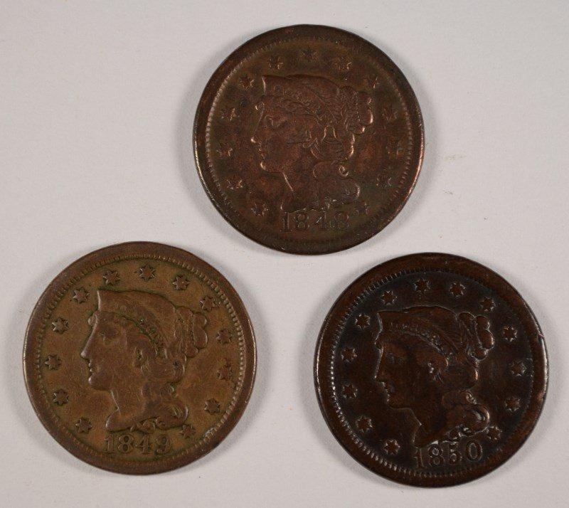 3 LARGE CENTS 1848, 49, 50