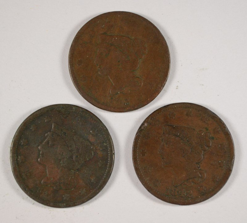 3 LARGE CENTS 1841, 42, 43