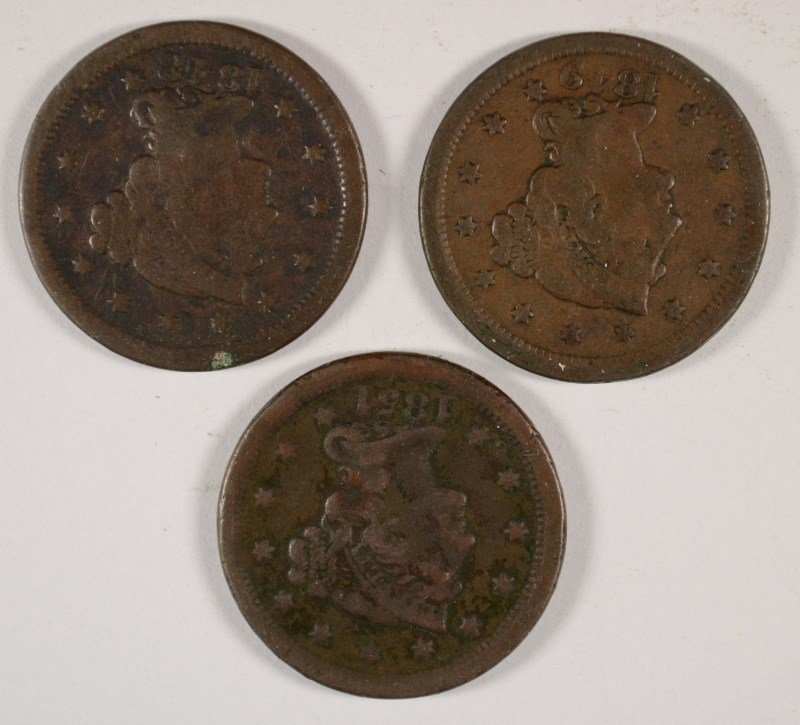 3 LARGE CENTS 1848, 49, 51