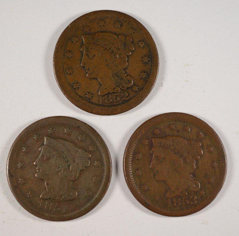 3 LARGE CENTS 1851, 52, 53