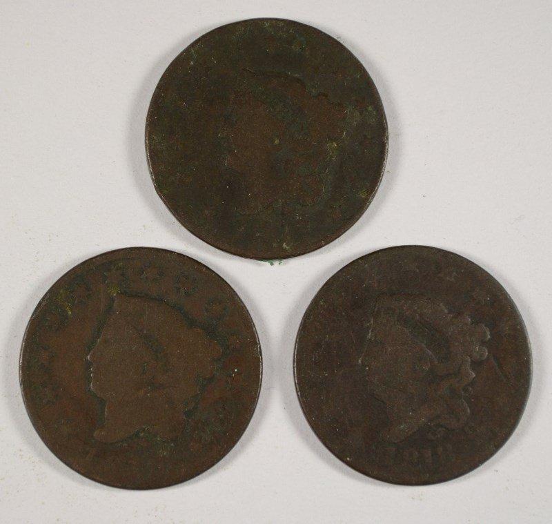 3 LARGE CENTS 1817, 18, 19