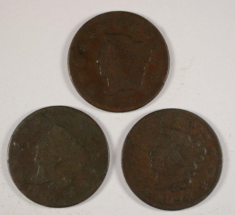 3 LARGE CENTS 1819, 24, 27